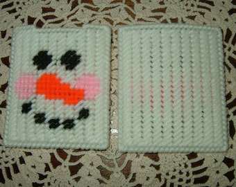 Gift Card Holder~Needlepoint~Plastic Canvas~Snowman Face