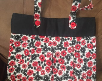 Red Black and White Pleated Tote
