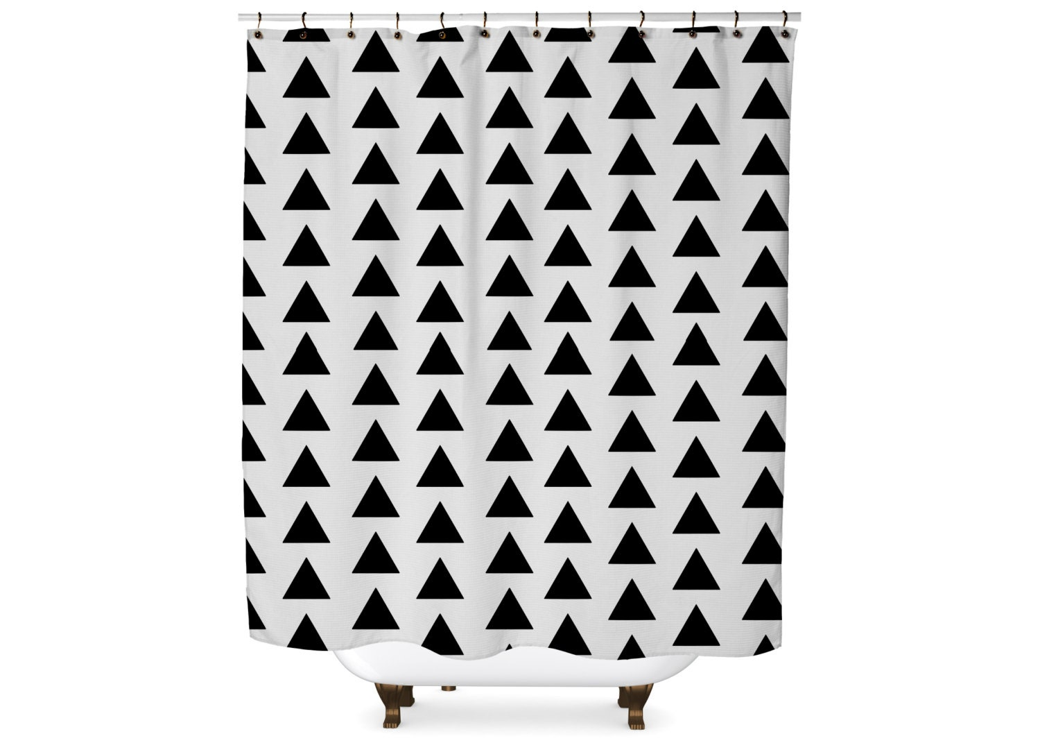 Black And White Geometric Triangle Shower Curtain