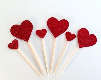 6 Assorted size Glitter Heart Cake Topper, Cupcake Birthday Cake, Valentine, Wedding decoration
