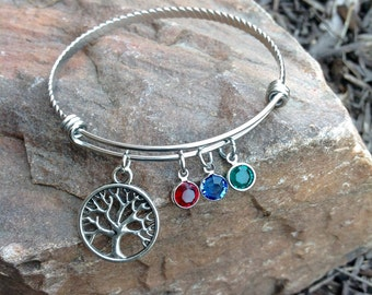 Custom Family Tree Birthstone Charm Bracelet - Expandable Silver Bangle Bracelet with Swarovski Crystals