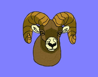 Big Horn Sheep Rams Embroidery Design 4x4 hoop
