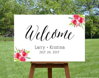 PRINTABLE Wedding Welcome Sign | Personalized Calligraphy Large Floral Wedding Sign | Custom Black, White, and Pink Wedding Decor | DIGITAL