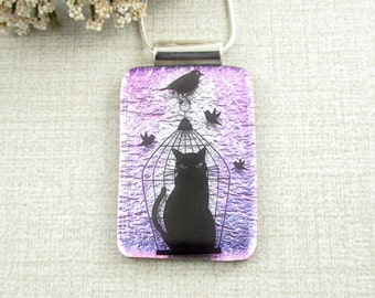 Black Cat in a Cage Fused Dichroic Glass Necklace - Pink Glass Cat Pendant - Fused Glass Jewelry