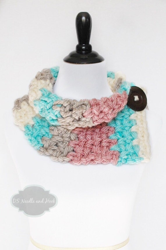 Brown, Aqua, Cream and Pink Button Cowl, Chunky Neck Warmer, Striped Collar Scarf, Wrap Scarf, Chunky Button Scarf