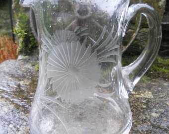 Etched Glass Water Jug 1910