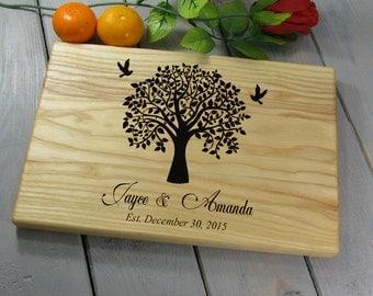 Couple Cutting Board, Wedding Gift Cutting Board Personalized Wedding Gift, Cutting Board Family Tree, Wedding Tree Personalized