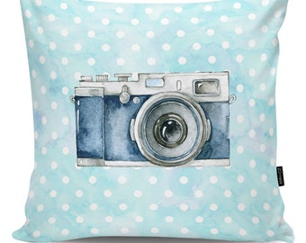 Decorative pillow Blue Camera