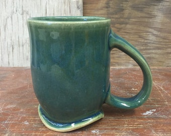 Wheel Thrown Pottery Hazy Blue Green Mug with Wavy Foot 15 oz