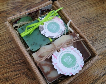 Out Of Stock!! Soap gift set, jute box, natural handmade soaps, 2 soap bars, you choose the scents SOLD OUT!