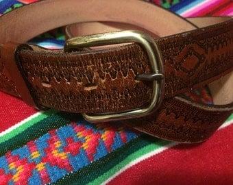 Leather belt w/ brass buckle