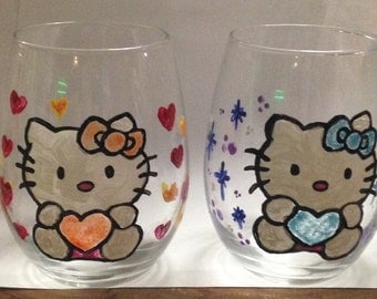 Hello Kitty Stemless Wine Glasses