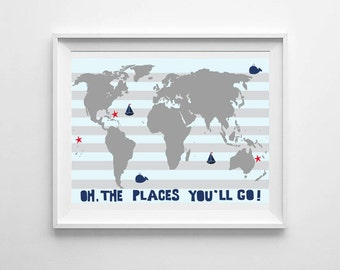 Nautical Nursery Prints, Nursery Wall Prints, Nursery Wall Art, All The Places You Will Go, Nursery Decor, Nursery Printable