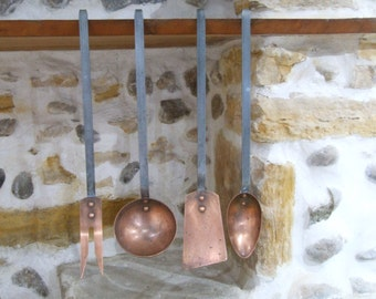 Copper Utensils // Antique French Copper Utensils //  set of utensils //