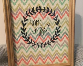 Home sweet home saying in a distressed wood frame, shabby chic, kitchen decor, wall hanging, distressed, custom