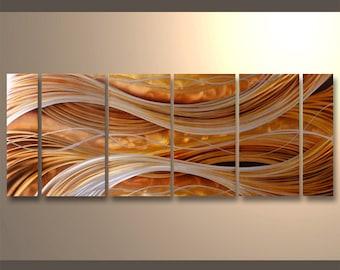 Abstract waves Metal Wall ArtDecor Hand-made Aluminium Painting