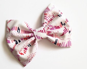 Pink and Lavender Hair Bow - Watercolor Hair Bow - Lavender Gossamer Hair Bow - Valentine's Day Hair Bow - Pink Hair Bow - Fabric Hair Bow