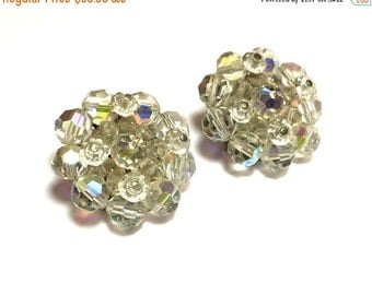 SummerSALE 50s AB Crystal Glass Bead Cluster  Earrings