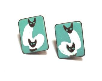 Siamese Cats Enamel Tish Earrings 50s