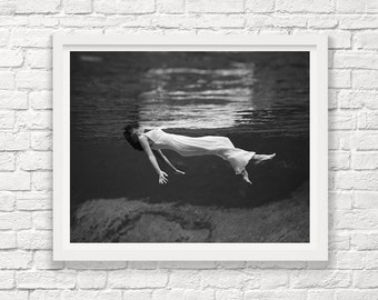 Fashion Photograph - Girl in Water - Floating - Black and White Photograph - Art Photography - Underwater Photography - Glamour - Beauty