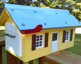 Custom Wood Mailbox Metal Roof. Any Color .Weatherproof and built to last.