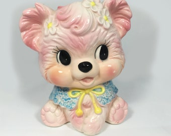 1950s Vintage Relpo #6793 Pink Teddy Bear Ceramic Planter