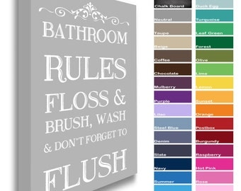 Bathroom Rules - Floss Brush Wash Flush - Canvas Print Picture Wall Art Plaque