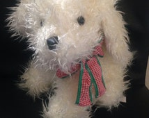 Vintage Gingham Dog Red and Green Bow Ribbon Stuffed Plushie 1990 Commonwealth Toy & Novelty Plush Puppy Lovie Gift Ships Worldwide