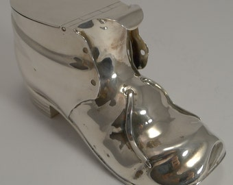 Rare Antique English Novelty Silver Plated Spoon Warmer c.1880 - Shoe