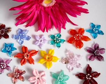 Lampwork Flowers  - Lampwork Glass - Glass Flower Beads - Glass Flower Pendants - Nature - Floral - Summer - UK Artisan Handmade - Crafter