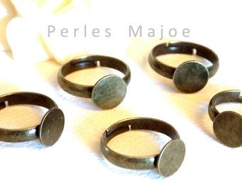 Lot de 5 supports de bague pour enfant couleur bronze dimensions anneau 14 mm