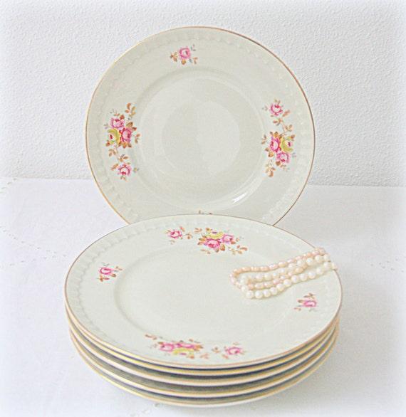Set of Four Vintage Dutch Mosa Maastricht Porcelain Breakfast Plates, Rose Decor