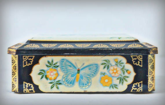Vintage Chocolate Tin with Butterfly and Flower Decor