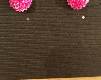 Hot pink carnation stud earrings