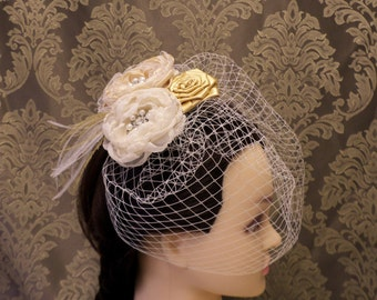 Champagne Fascinator, Wedding Headpiece, Birdcage Veil, Wedding Veil, Birdcage fascinator, Blusher Veil, Bridal Headpiece, Ivory White Veil