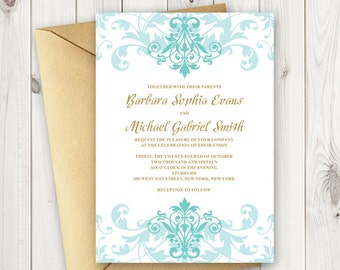 """DIY Wedding Invitation Template """"Elegant Ironwork"""" with Ornaments in Turquoise and Gold Wording. Printable Wedding Invites, MS Word Format."""