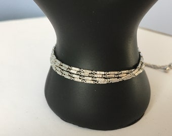 925 Sterling Silver Four Tier Layered Bracelet