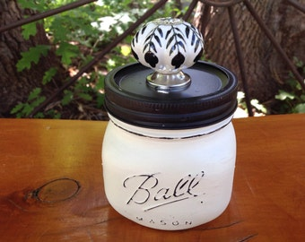White Wide Mouth Mason Jar with Black & White Ceramic  Knob- Trinket Holder- Desk Decor- Vanity Decor- Bathroom Decor