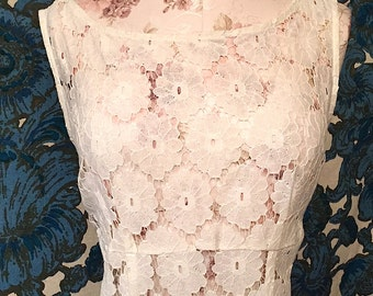 Vintage 1990s White Lace Babydoll Dress Sheer Lace Dress Hippie Boho Grunge Festival