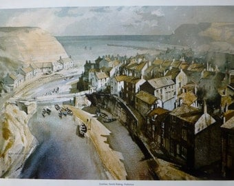 Print of Staithes, North Riding, Yorkshire - Rowland Hilder