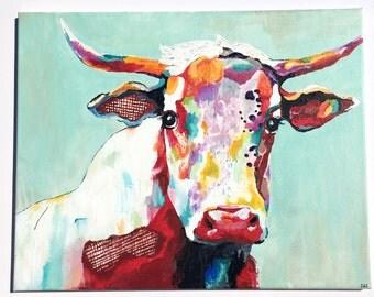 Colorful Cow Art Print- Fine Art Paper