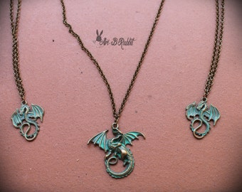 Bronze Dragons Necklace [Game of thrones: Drogon, Rhaegal and Viserion] Fantasy Necklace handmade