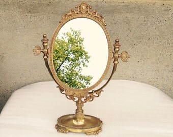 Mirror//French Antique Brass Mirror//Vanity Mirror//Dressing Table Mirror//Early 1900's Mirror//Found And Flogged