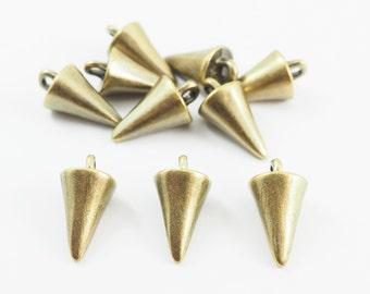 10 pieces- 3D Spikes Charms Pendants Streampunk Antique Brass - SRR.7