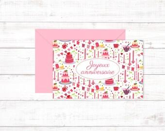 "Mini Postcard ""Joyeux anniversaire"""