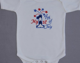 My 1st Fourth of July Onesie with Fireworks, 1st 4th of July Onesie