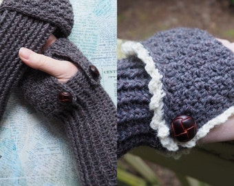 Crochet Pattern -- Cuffed Fingerless Gloves