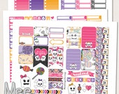 Halloween stickers,The Happy planner size printable stickers,Pink and cute Halloween sticker kit printable planner stickers,weekly kit
