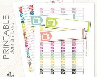 TV Labels Set Printable Planner Stickers Instant Digital download TV stickers planner EC Life Planner