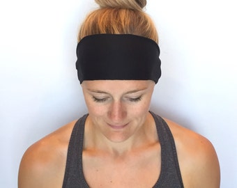 Black Fitness Headband - Workout Headband - Running Headband - Yoga Headband - Midnight Black